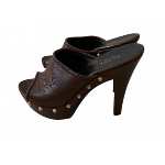 Gucci Craft Brown Leather Clog Mule heel
