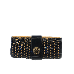 Tory Burch Straw & Patent Leather Woven Clutch